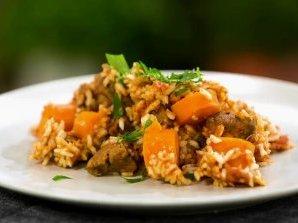 Телешко с ориз и домати