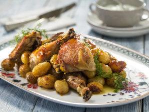 Пилешки бутчета с пресни картофи